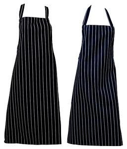 100% Vrai Bouchers Tablier Tissé Rayure Cuisine Travail Chefs Traiteur Blanchir Résistant Blanc De Jade