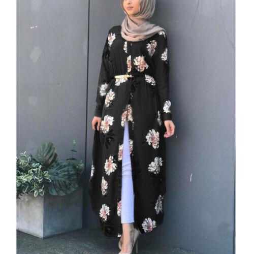 Muslim Women Floral Print Long Sleeve Maxi Dress Loose Abaya Jilbab Kaftan Robe