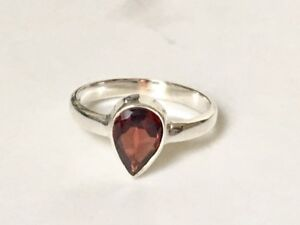 925-Sterling-Silver-Garnet-Ring-Teardrop-Faceted-Gemstone-Stack-Size-6-7-7-5-8-9