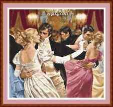 "'ROMANTIC BALLROOM DANCERS' Cross Stitch Chart/Pattern (13½""x10½"") Victorian"