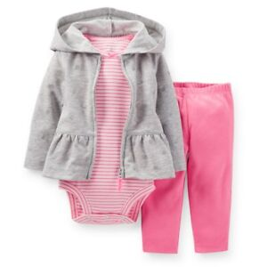 cf846aad9 NWT Carters Baby Girls 3 Piece Cardigan bodysuit pant Set 6 9 12 18 ...