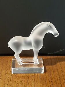 "Lalique France 4"" Crystal Tang Horse Figurine, Frosted and Clear Crystal.Signed."