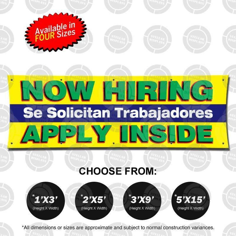 NOW HIRING Trabajadores Banner Now Open Jobs Poster Business Display Employment 2
