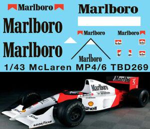 1/43 Mclaren Honda Mp4/6 Ayrton Senna G.berger 1991 Decals Tb Decal Tbd269 Haute Qualité