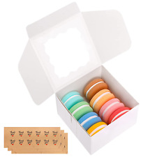 30 Packs 4x4x25 Inches White Bakery Boxes With Window Paper Gift Boxes Pastry