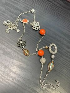 "Vera Wang Vintage 44""  Crystal  bead Flower Boho Pretty Strand Sweater Necklace"