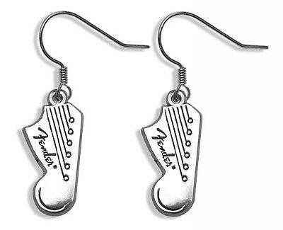 """""""Fender"""" Guitar Licensed Headstock Logo Dangle Earrings ~ Vintage 1990's ~"""