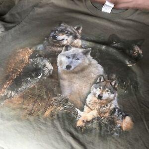 Vintage-Retro-1990-039-s-WOLF-T-shirt-Tee-XL-X-Large