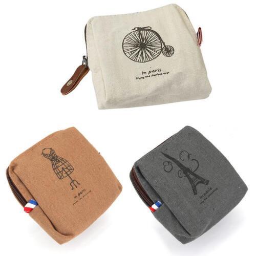 Retro Lady Small Canvas Purse Zipper Wallet Coin Key Holder Case Pouch Bag GA