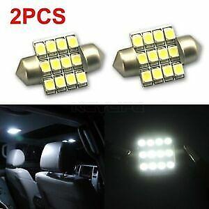 2-x-CAR-12V-LED-31MM-FESTOON-INTERIOR-WHITE-LIGHT-BULB-12SMD-AUTO-DOME-GLOBE2-x