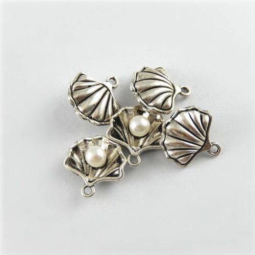 Vintage Silver Alloy Pearl Shell Shaped Charms Pendants Findings 20pcs 51641