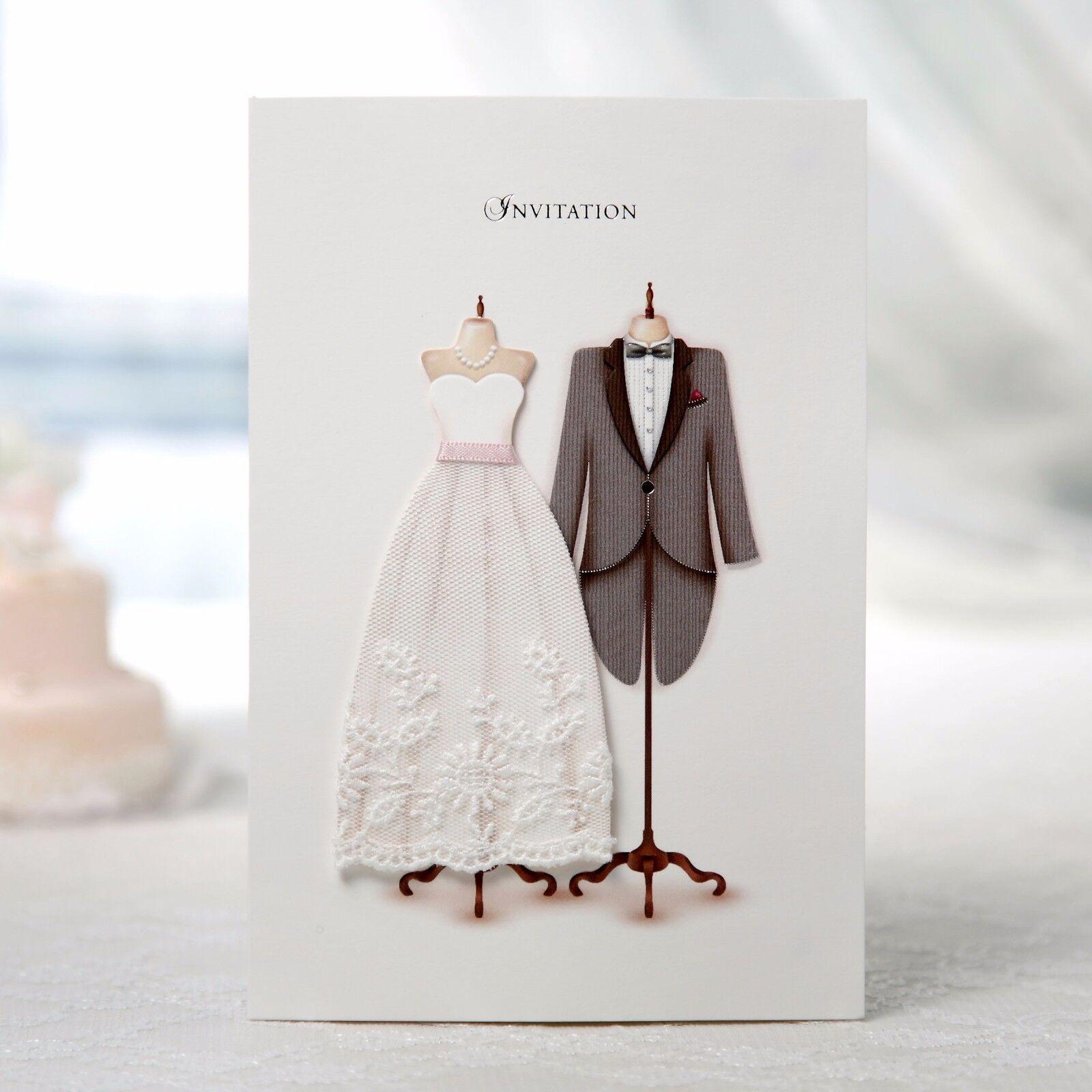 Fabric Wedding Dress Tuxedo Wedding Invitations Unique Wedding Invitation SW3027