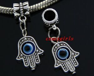 87e9b13a5a82c Details about 6/30/100pcs Hamsa Hand EVIL EYE Kabbalah Luck Bulk Lot Dangle  Charms Bracelet