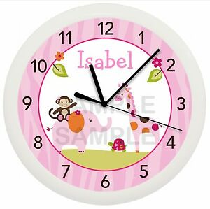 Image Is Loading Pink Safari Nursery Wall Clock Sweet Personalized
