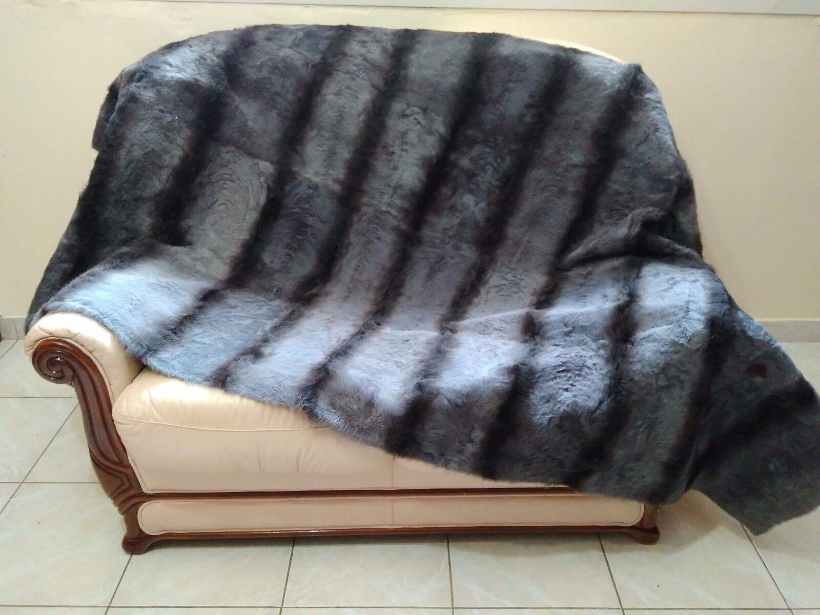 Luxury Striped Grey Astrakhan Skin Fur Throw Real Lamb Fur Blanket   Bedspread