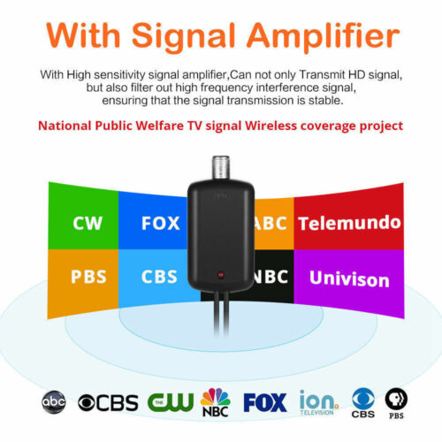 Antenna TV Digital HD 300 Miles Range Skywire TV Indoor 1080P 4K 13ft Cable New!