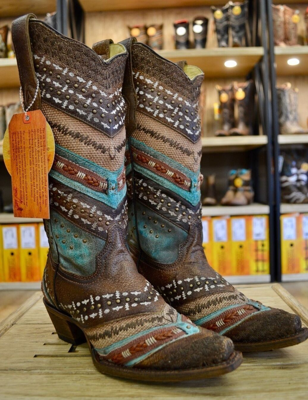 Corral Ladies Turquoise Brown Embroidered and Studs Leather Boots A3381