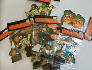 Lot-Of-14-Vtg-NEW-OLD-STOCK-Halloween-6-Honeycomb-Witch-Pumpkin-Scarecrow