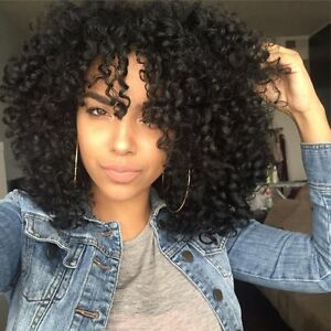 Fashion Medium Afro Curly Side Bang Black Women S