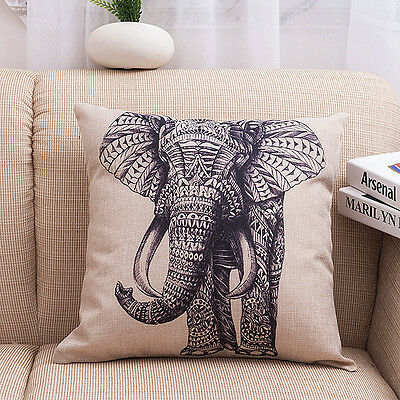 Vintage Elephant Throw Home Decor Cotton Linen Sofa Pillow Case Cushion Cover