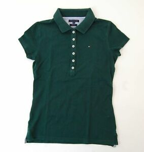Tommy-Hilfiger-Poloshirt-Polohemd-Damen-Gr-XS-gruen-uni-Pique-S1089