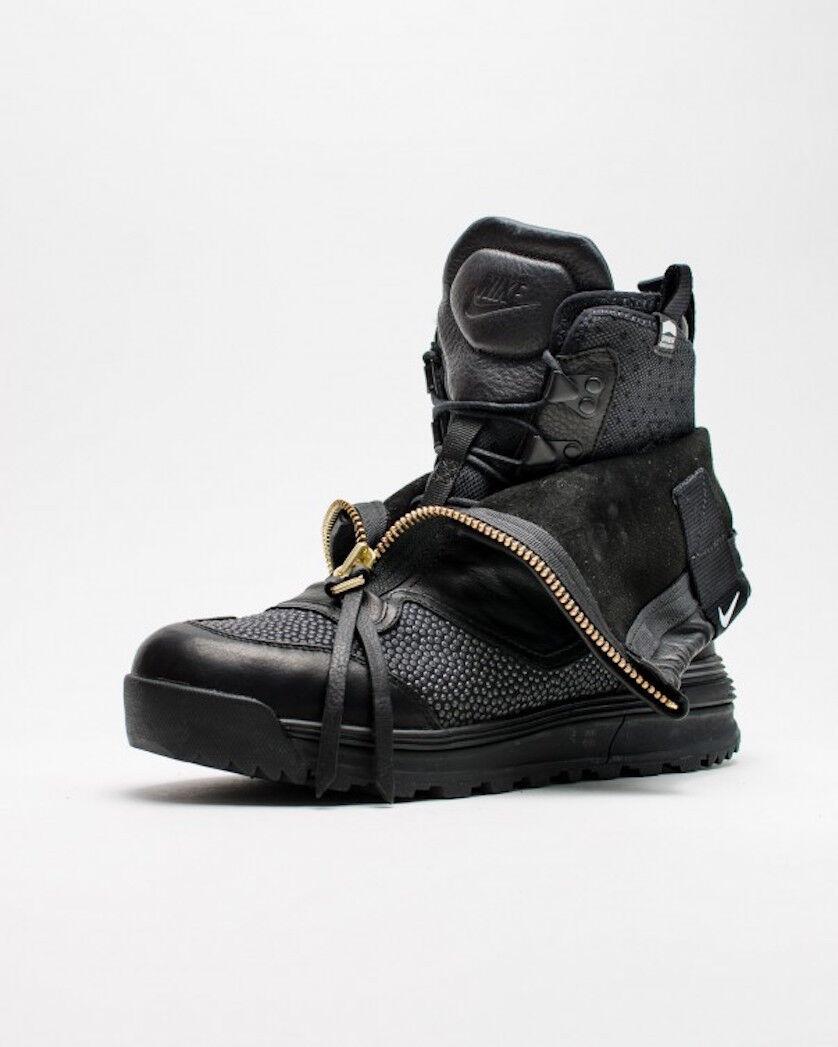 NIKE LUNAR TERRA ARKTOS TCH SP NIKELAB ALL BLACK Leather Boots 728747 Sz 6.5 NEW