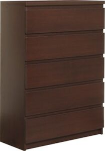 Pello Dark Mahogany Home Bedroom Furniture 5 Drawer Wide Chest Of Drawers Unit 5900355023127 Ebay