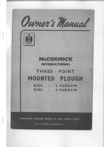 McCORMICK INTERNATIONAL B200 /& B300 PLOUGH OPERATORS MANUAL