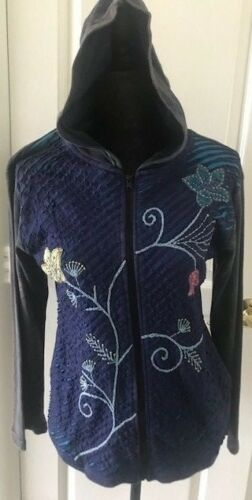 NWT BLUE  S /& L Nepal Cotton Fair Trade Razor Cut Hoodie Jacket Coat CLEARANCE