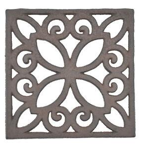 Decorative-Trivet-Square-Cast-Iron-Hot-Pad-Kitchen-Decor