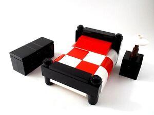 Lego Furniture Bedroom Set W Bed Nightstand Dresser Red City