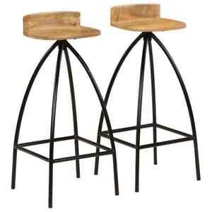 Detalles de vidaXL 2x Sillas Altas de Bar Mango 40x40x82 cm Taburete Cocina  Comedor Casa