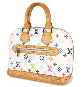 Authentic-LOUIS-VUITTON-Alma-White-Multicolor-Monogram-Hand-Bag-Purse-34094