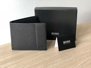 Hugo-BOSS-Men-039-s-Black-Leather-Wallet-039-Traveller-4-cc-Coin-039-Bifold-Style-50311783