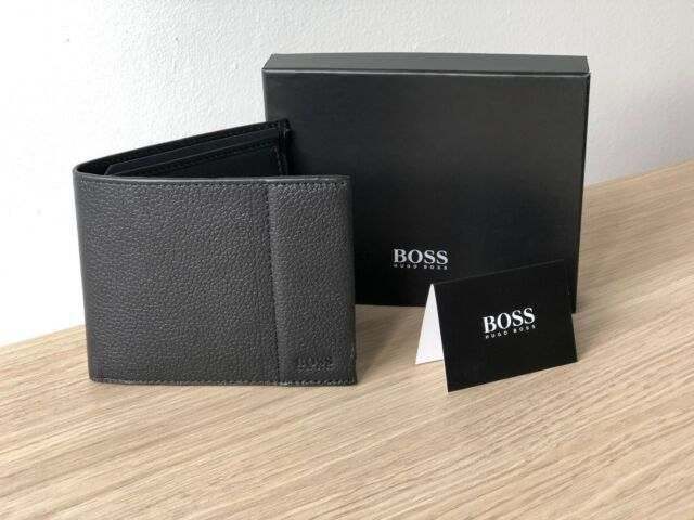 793a0e91e9d Hugo BOSS Men's Black Leather Wallet 'Traveller 4 cc Coin' Bifold Style  50311783