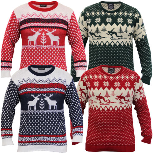 Mens Ladies Christmas Xmas Jumper Snowflakes Novelty Knitted Fair Isle Winter
