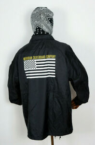 Meridian-Skateboards-Coach-Coaches-Jacket-Jacke-Checkers-n-Stripes-Black-in-L
