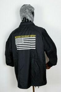 Meridian-Skateboards-Coach-Coaches-Jacket-Jacke-Checkers-n-Stripes-Black-in-XL