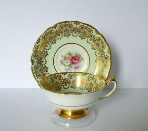 Paragon-Pastel-Green-Floral-Bone-China-Cup-amp-Saucer-Set