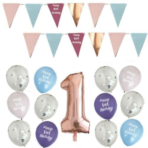 Premier 1ST Anniversaire Décorations de Fête Bunting Bannière Guirlande confettis ballons.