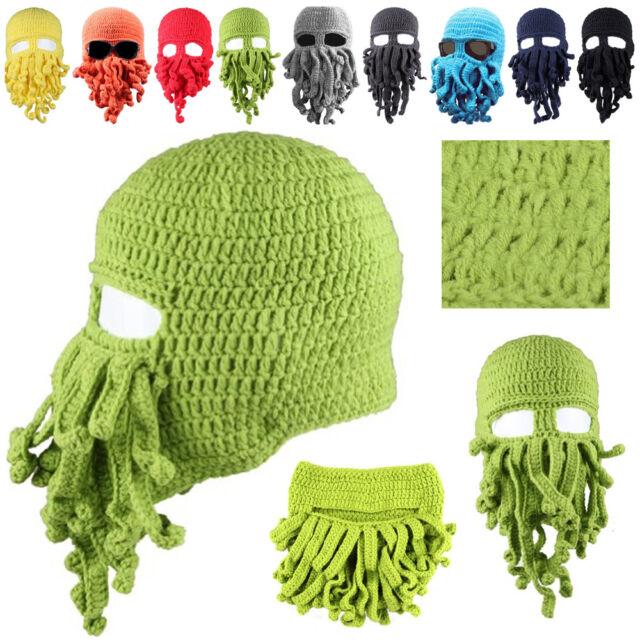Halloween Octopus Mask Beard Hat Squid Tentacle Ski Cap Wool Knit Cthulhu Beanie