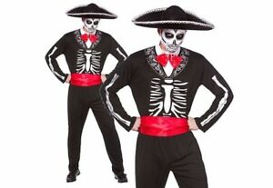 Mens MARIACHI DAY OF THE DEAD + HAT Skeleton Festival Halloween ... a92c74593aa1