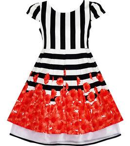 Girls dress black white striped red flower organza hem party size 7 image is loading girls dress black white striped red flower organza mightylinksfo