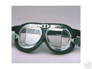 Motorrad-Brille-Leder-Flyer-chrom-vintage-goggle-chromed