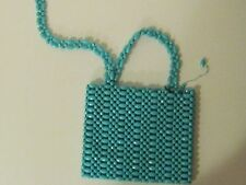 For Repair:  Vintage Women's 1960's Turquoise Plastic Beads Purse Handbag