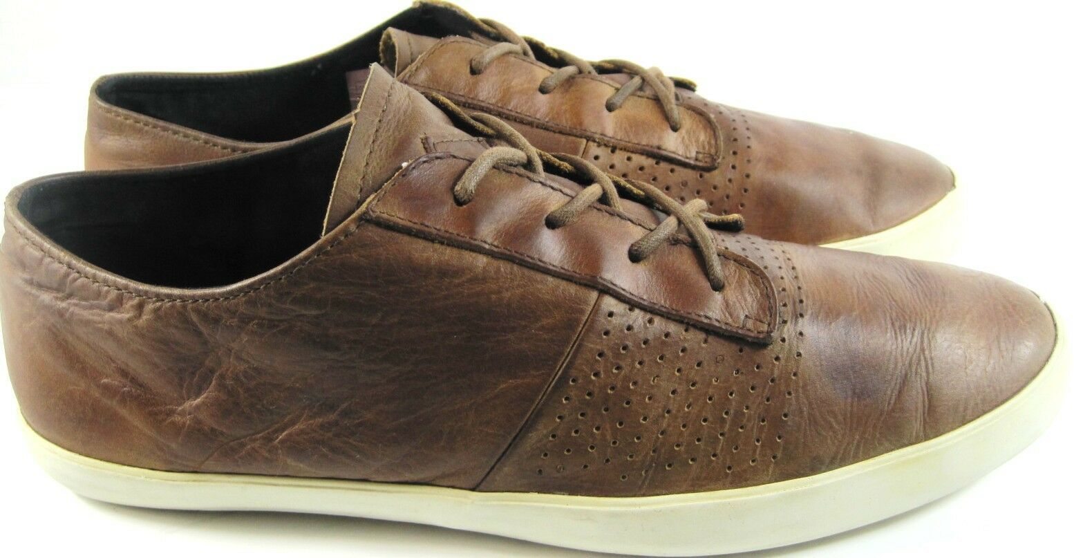 Reef Uomo Athletic Shoes Pelle Size 10 Brown Rubber Soles Low Tops.