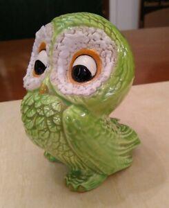 Vintage Ceramic Owl Figurine, Owl Decor, Cute Green Owl 4-3/4