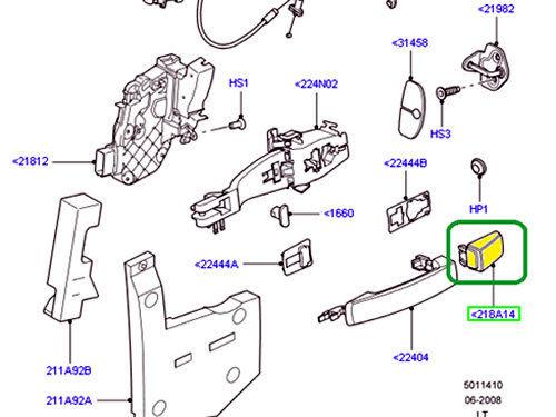LAND ROVER DRIVER FRONT DOOR HANDLE CAP SPORT 06-09 LR3 06-09 LR2 CXJ500030LEP