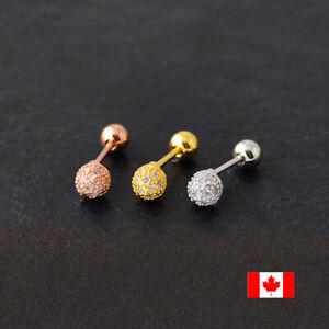 1PC fashion CZ Tragus Cartilage ear stud Earring stainless steel body  jewelry