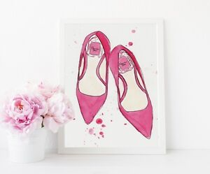 5aa68e1bd48 Pink High Heel Shoes Fashion Illustration Dior Print Poster Bedroom ...